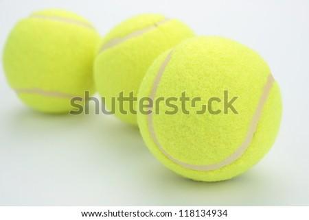 three yellow tennis ball - stock photo