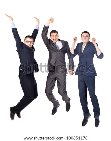 Three young  business men jumping isolated on white background - stock photo
