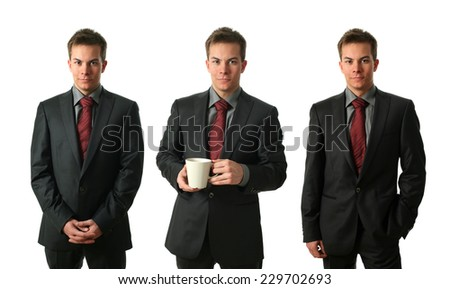 Three young businessmen wearing formal clothers and holding a tea cup isolated on white