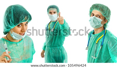three young doctors, isolated on white background - stock photo