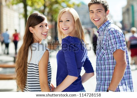 Three young friends - stock photo