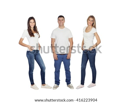 Three young friends with jeans and white t-shirt isolated - stock photo
