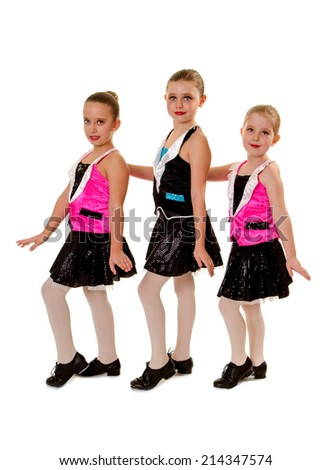 Three Young Girls in Junior Tap Dance Costume - stock photo