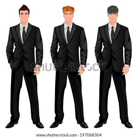 Three young handsome businessmen with trendy hairstyles for red, dark brown and chestnut haired man  illustration - stock photo