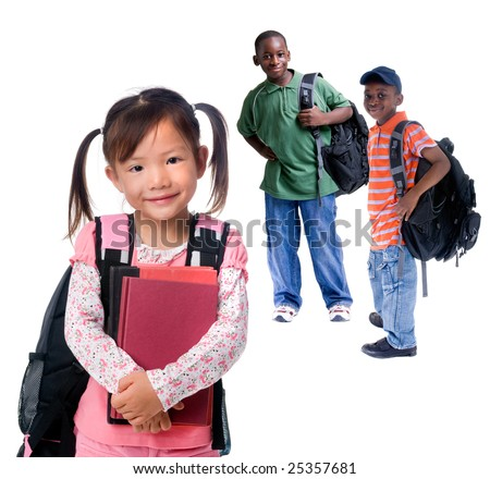 Three young kids ready for school. Diversity - stock photo