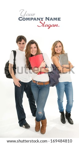 Three young people with student gear - stock photo