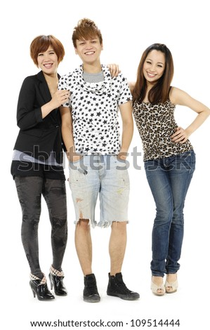 three young peoples isolated on a white background - stock photo
