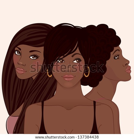 hairstyles for medium length natural hair : pretty african american women with different hairstyles. A raster ...