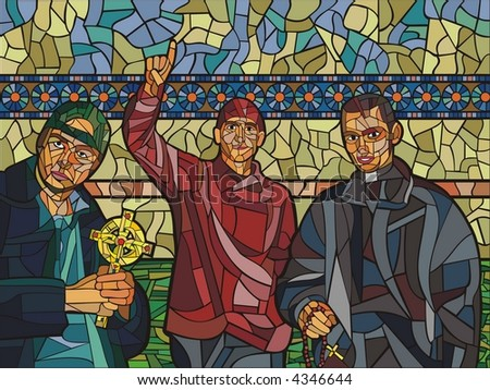 three young priests; one priest is holding a decorated cross, another is holding a chaplet, and the third one is pointing to the sky. mosaic illustration made on computer,