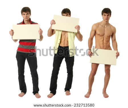 Three young sexy men holding copy space blank signs isolated on white - stock photo