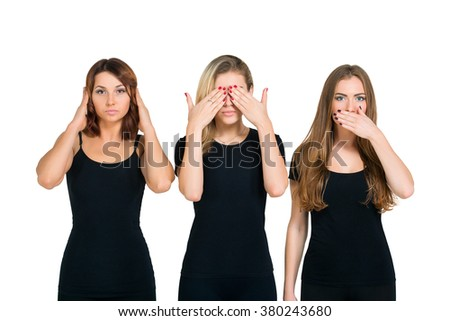 Three young woman in black clothes isolated at white background showing blind, deaf and dumb: wise monkey scene - hear no evil, see no evil, speak no evil