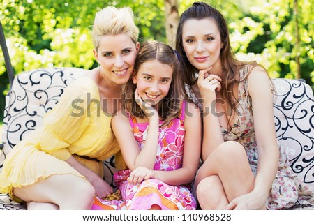 Three young women - stock photo