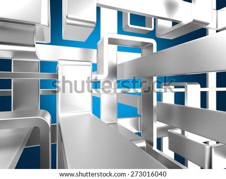 threedimensional endless metal labyrinth with luminous background - stock photo