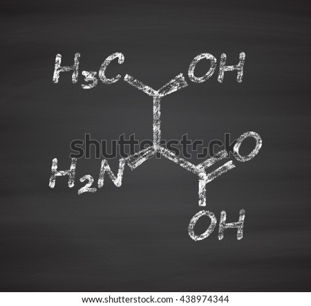 Threonine (l-threonine, Thr, T) amino acid molecule. Chalk on blackboard style illustration. - stock photo