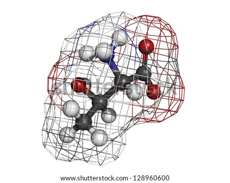 Threonine (Thr, T) amino acid, molecular model. Amino acids are the building blocks of all proteins. Atoms are represented as spheres with conventional color coding: hydrogen (white), etc - stock photo