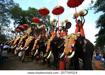 THRISSUR, INDIA - MAY 12 : Decorated elephants stand in line for procession at Thrissur Pooram on May 12, 2011 in Thrissur, India. Thrissur Pooram is the most popular elephant festival in India. - stock photo