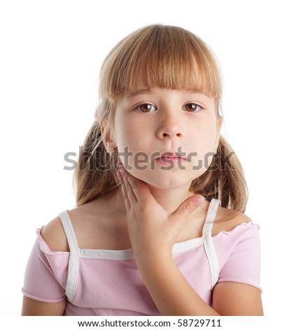 Throat is ill the girl - stock photo