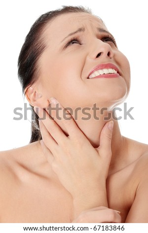 Throat pain concept. Young woman with touching her throat.