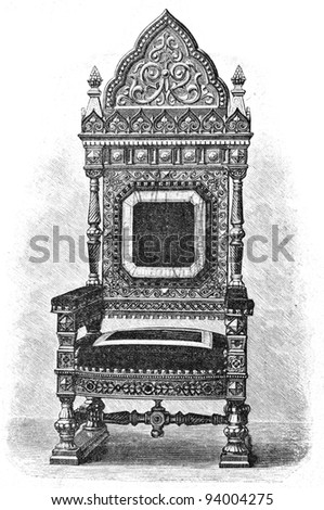 """Throne of Bukhara emir. Engraving by Rashevsky. Published in magazine """"Niva"""", publishing house A.F. Marx, St. Petersburg, Russia, 1893 - stock photo"""