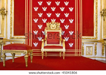 Throne of Polish king-Royal castle in Warsaw on World Heritage List. - stock photo