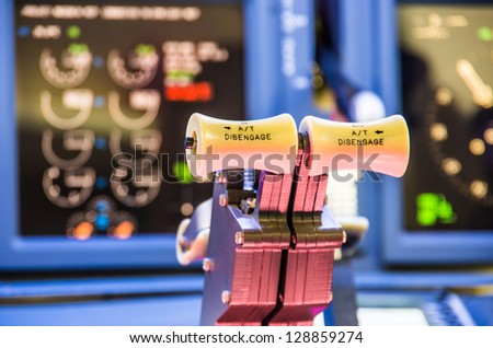 Throttle of an homemade cockpit of  flight simulator - Aerospace industry concept   - stock photo
