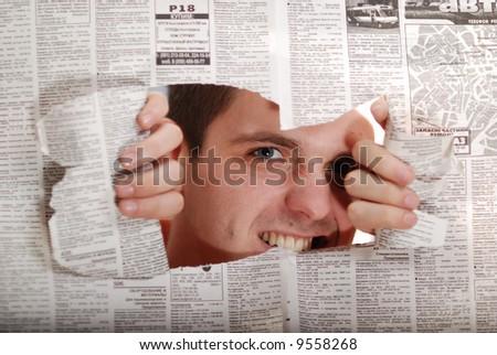 Throw newspaper color - stock photo