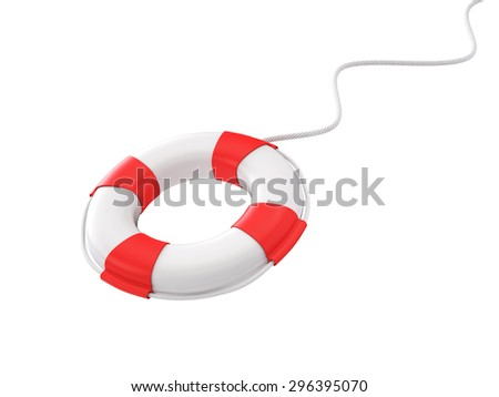 Throwing Life Buoy , Support concept , Isolated on White Background , 3d render - stock photo