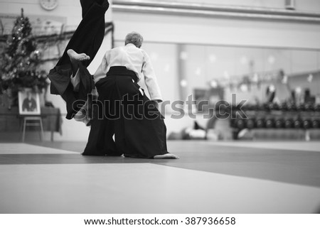 Throwing techniques in martial arts - stock photo