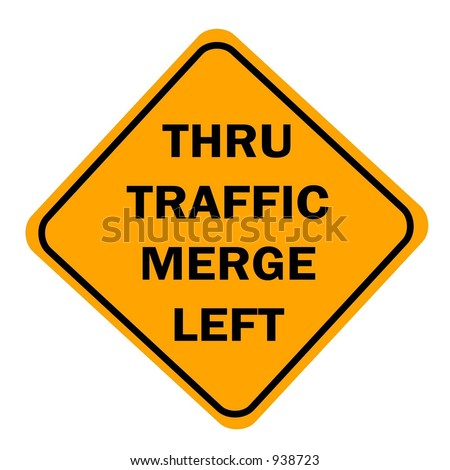 Thru traffic merge left sign isolated on a white background