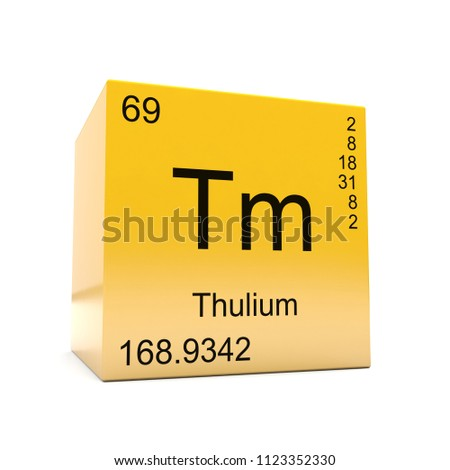 Thulium chemical element symbol periodic table stock illustration thulium chemical element symbol from the periodic table displayed on glossy yellow cube 3d render urtaz Image collections