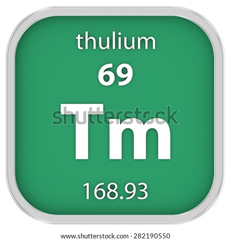 Thulium material on the periodic table. Part of a series. - stock photo