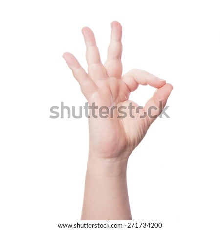 thumb and forefinger forming OK okay hand sign