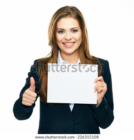 Thumb. Business woman show board, banner with copy space. smiling woman with long hair. white background isolated.