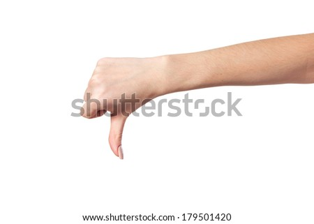 Thumb down Female hand sign isolated on a white bakground - stock photo