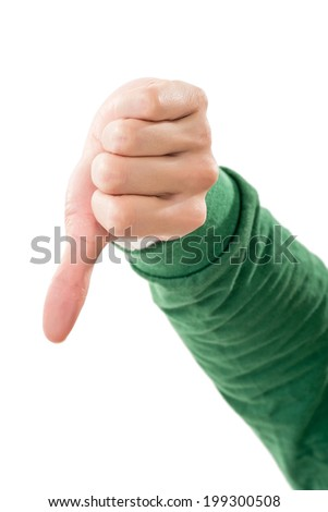 Thumb down gesture on white background. - stock photo