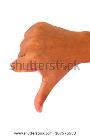 Thumb down hand sign on white - stock photo