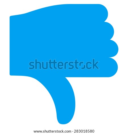 Thumb down icon from Basic Plain Icon Set. Style: flat symbol icon, blue color, rounded angles, white background. - stock photo