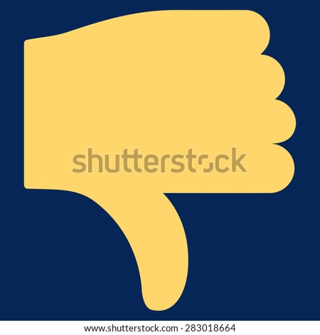 Thumb down icon from Basic Plain Icon Set. Style: flat symbol icon, yellow color, rounded angles, blue background. - stock photo