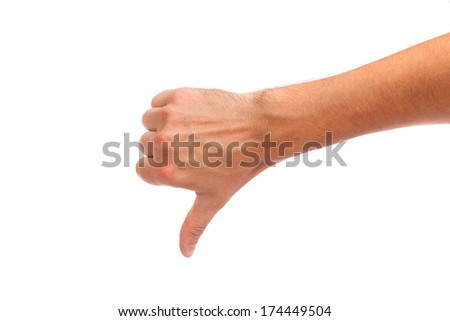 Thumb down male hand sign isolated on a white bakground - stock photo