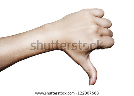 Thumb down over white background - stock photo
