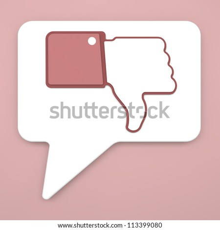 Thumb Down Sign on Speech Bubble for Blogs and Websites. - stock photo