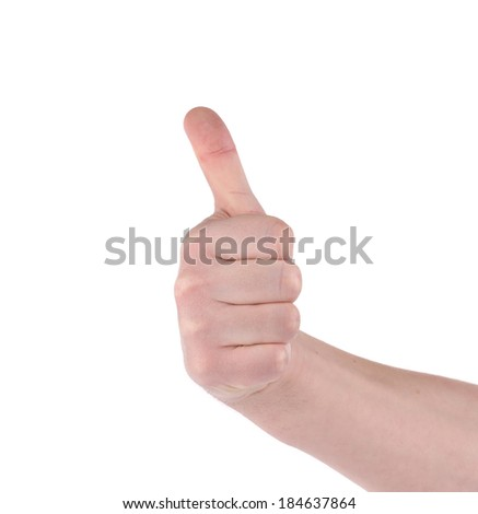 Thumb of man hand. Isolated on a white background.