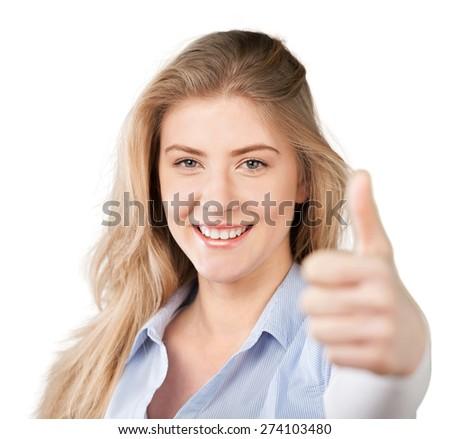 Thumb, smile, woman. - stock photo