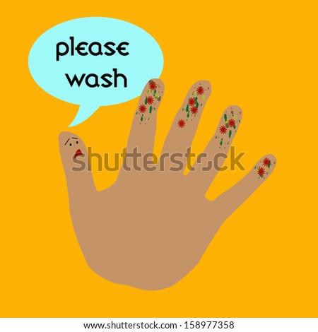 thumb telling fingers to wash orange background - stock photo