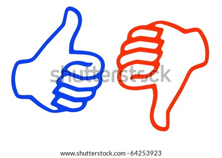 Thumb up and down - stock photo