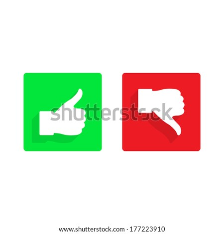 thumb up and down flat icon - stock photo