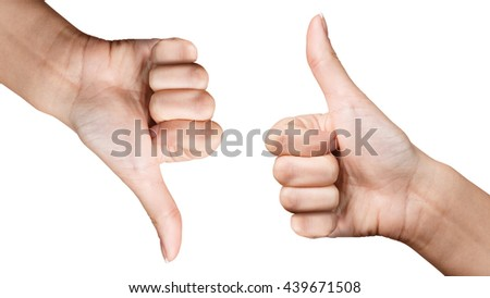 Thumb up and down hand signs