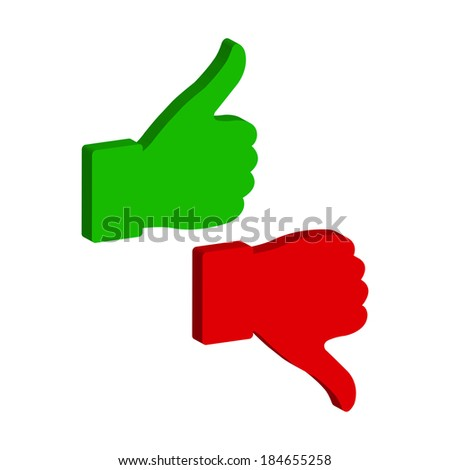 thumb up and down - icon - stock photo