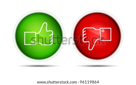 Thumb up and thumb down buttons. Isolated on white. - stock photo