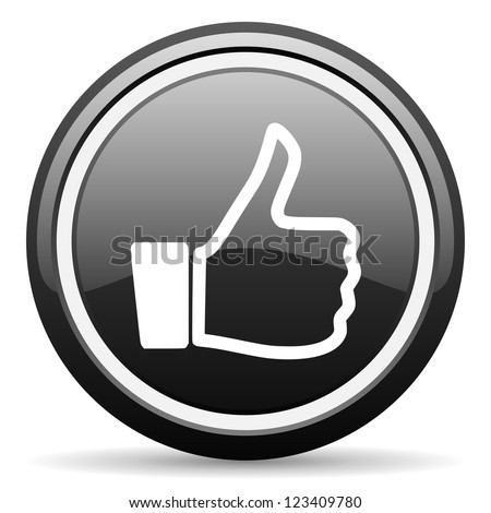 thumb up black glossy icon on white background